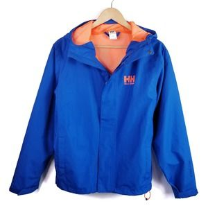 Helly Hansen Blue Zip Front Hooded Rain Jacket S